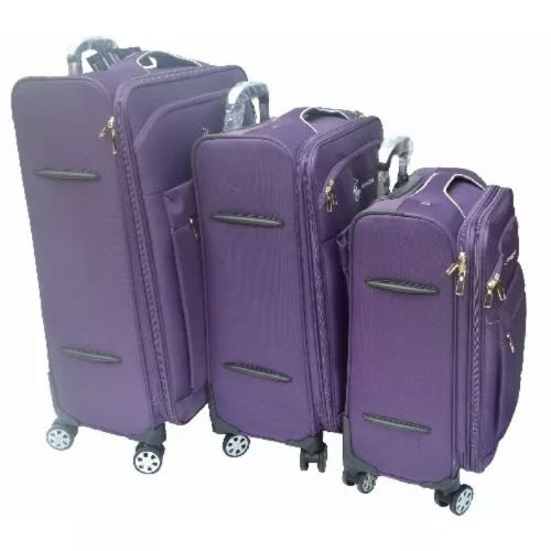 50333457c63f 3 Piece Set Four Wheel Luggage Box- Purple