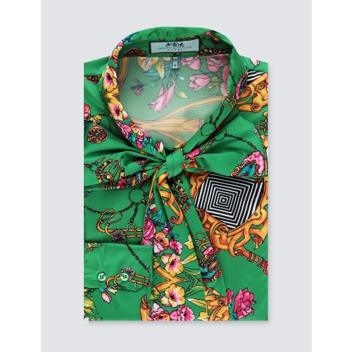 df3c018f5db269 Hawes & Curtis Women's Green Chain Print Fitted Satin Blouse ...