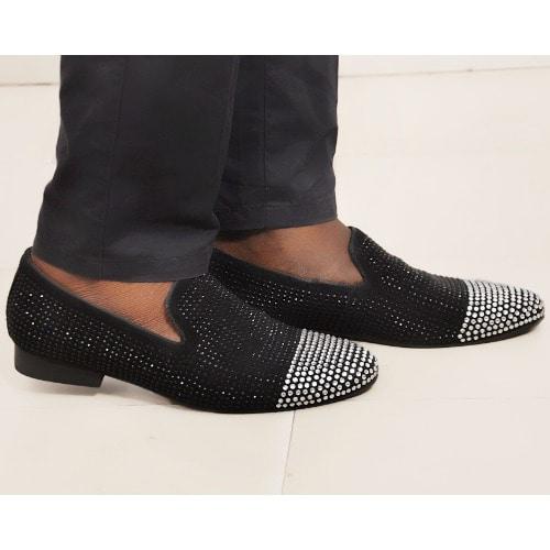 aafb8d76a7e Haggiotti Zard Studded Loafers- Black   Silver