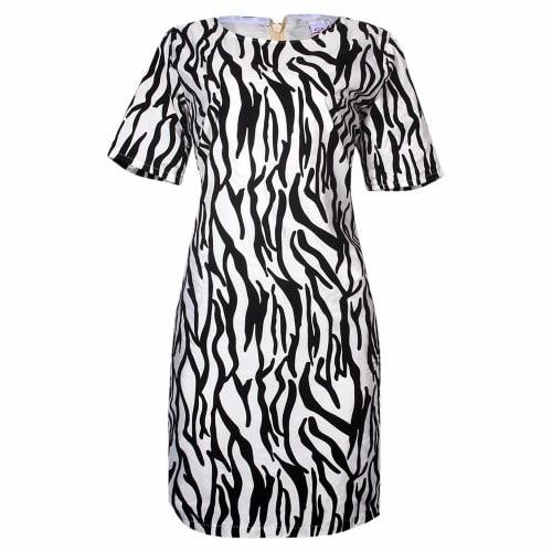 Zebra Pattern Ready to Wear Custom Fit Dress- Black & White