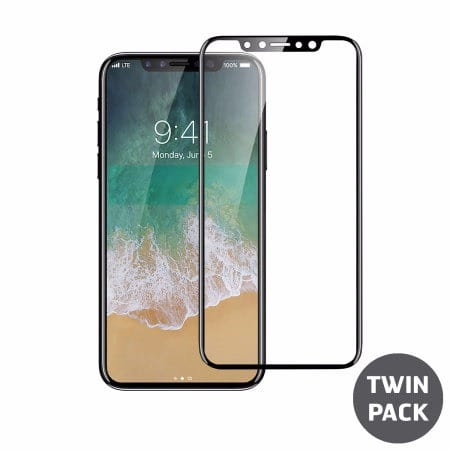 best service 0429b 9b163 iPhone X Full Cover Glass Screen Protector 2-in-1 Pack - Black